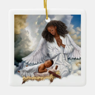 Afro Angel and Baby Jesus Christmas Ornaments