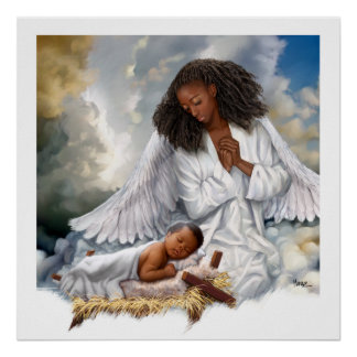 Afro Angel and Baby Jesus Painting Art Prints