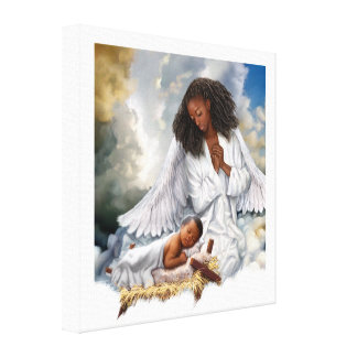 Afro Angel and Baby Jesus Painting Canvas Print