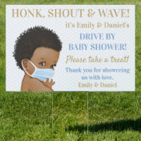 Afro Baby Boy Wearing Mask Drive By Baby Shower Sign