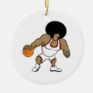 Afro basktball player Double-Sided ceramic round christmas ornament
