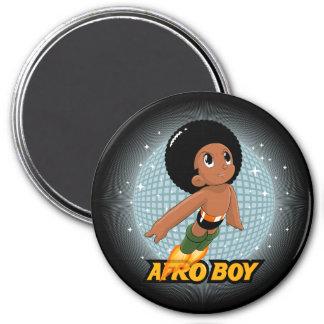 Afro Boy 3 Inch Round Magnet