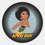 Afro Boy Classic Round Sticker