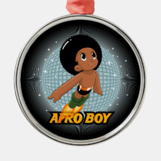 Afro Boy Round Metal Christmas Ornament
