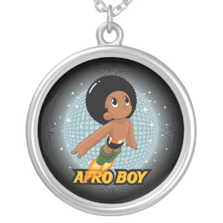 Afro Boy Round Pendant Necklace