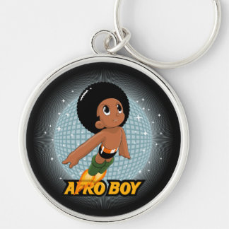 Afro Boy Silver-Colored Round Keychain