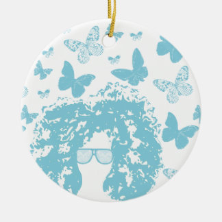 Afro, Butterflies and Sunglasses Ceramic Ornament
