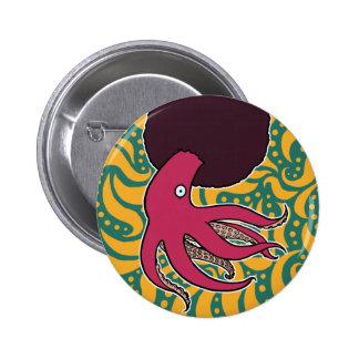 Afro-Calamar Pin Redondo De 2 Pulgadas