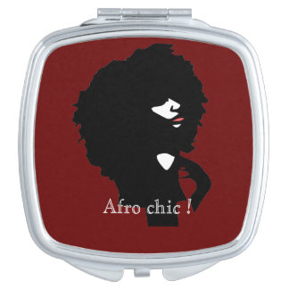 Afro chic illustration compact mirror