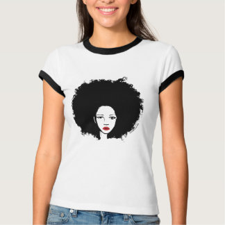 afro chick with red lipstick tshirt