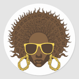 Afro Cool Classic Round Sticker