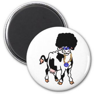 Afro Cow 2 Inch Round Magnet