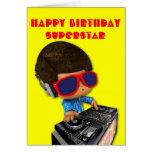 Afro de DJ del Peekaboo Tarjeta De Felicitación