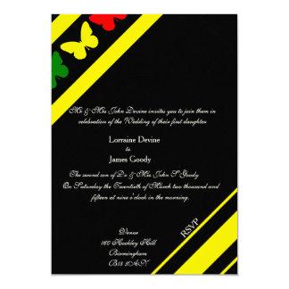 Afro-design butterflies wedding invitation card