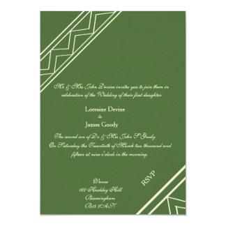 Afro-design green/white wedding invitation card