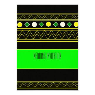 Afro-design neon green/blk wedding invitation card