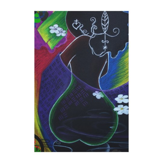 Afro Digital African Moon by Nazaire Canvas Print