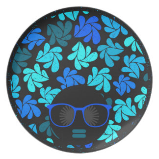 Afro Diva Turquoise Teal Dinner Plate