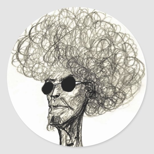 Afro Dude Classic Round Sticker