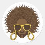 Afro fresco etiqueta redonda