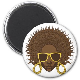 Afro fresco imán redondo 5 cm