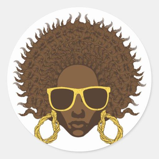 Afro fresco pegatina redonda