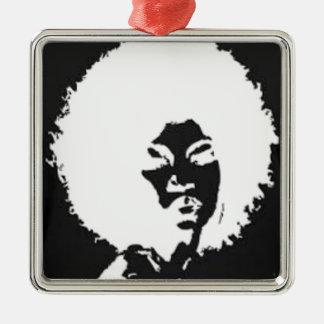 Afro Girl Metal Ornament