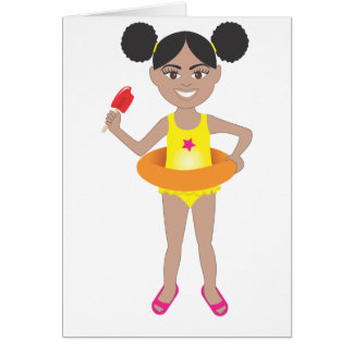 Afro Girl with Popsicle Card