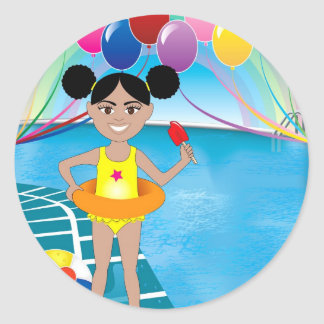 Afro Girl with Popsicle Classic Round Sticker
