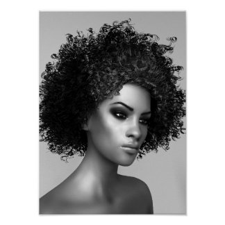 Afro Hair 3D Render Poster