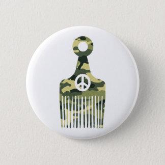 Afro Hair Peace Camo Button
