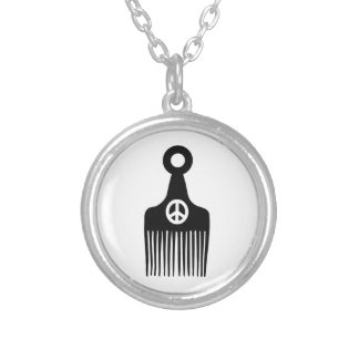 Afro Hair Peace Round Pendant Necklace