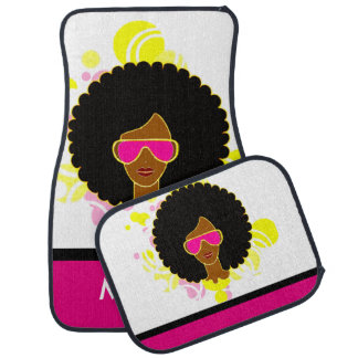 Afro Hair Pink Sunglasses on Car Mats