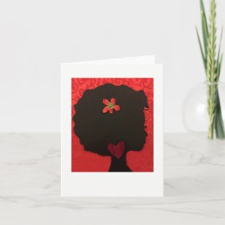 Afro Heart Design Notecard by Alicia L. McDaniel