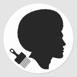 AFRO MAN (BLACK AND WHITE) Classic Round Sticker