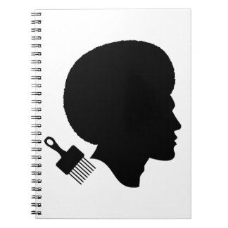AFRO MAN (BLACK AND WHITE ILLUSTRATION) NOTEBOOK