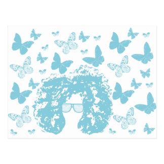 Afro, mariposas y gafas de sol postales