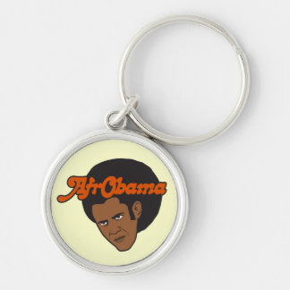 Afro Obama Silver-Colored Round Keychain