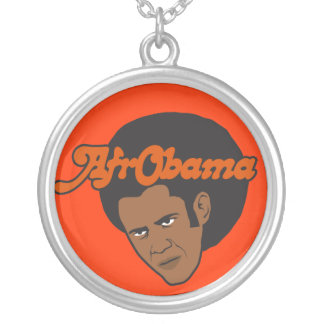 Afro Obama Silver Plated Necklace