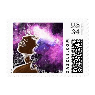 """Afro pequeño, 1,8"""" de la galaxia x 1,3"""", $0,35 timbre postal"""