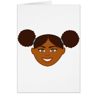 Afro Puffs Girl Face Cards