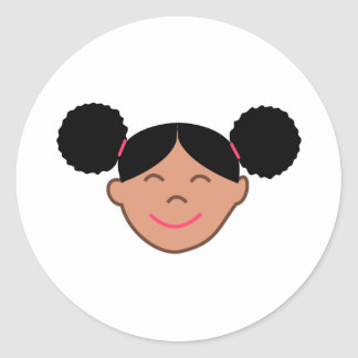 Afro Puffs Girl Face Classic Round Sticker