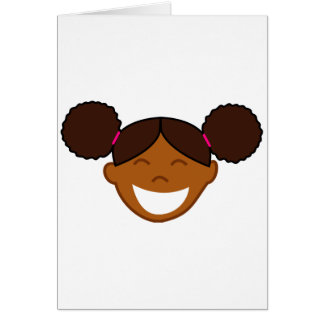 Afro Puffs Girl Face Greeting Card