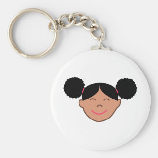 Afro Puffs Girl Face Keychain