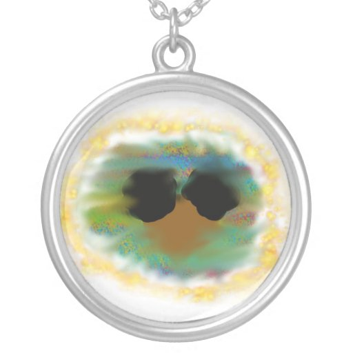 Afro Puffs Round Pendant Necklace