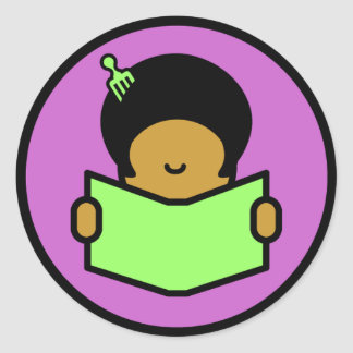 Afro Reader Classic Round Sticker