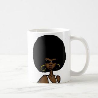 afro sister classic white coffee mug