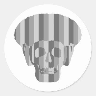 Afro Skull Shades of Grey Sticker