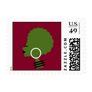 Afro Woman African Art Heritage Postage Stamp