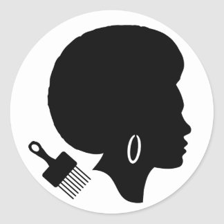 AFRO WOMAN (BLACK AND WHITE) Classic Round Sticker